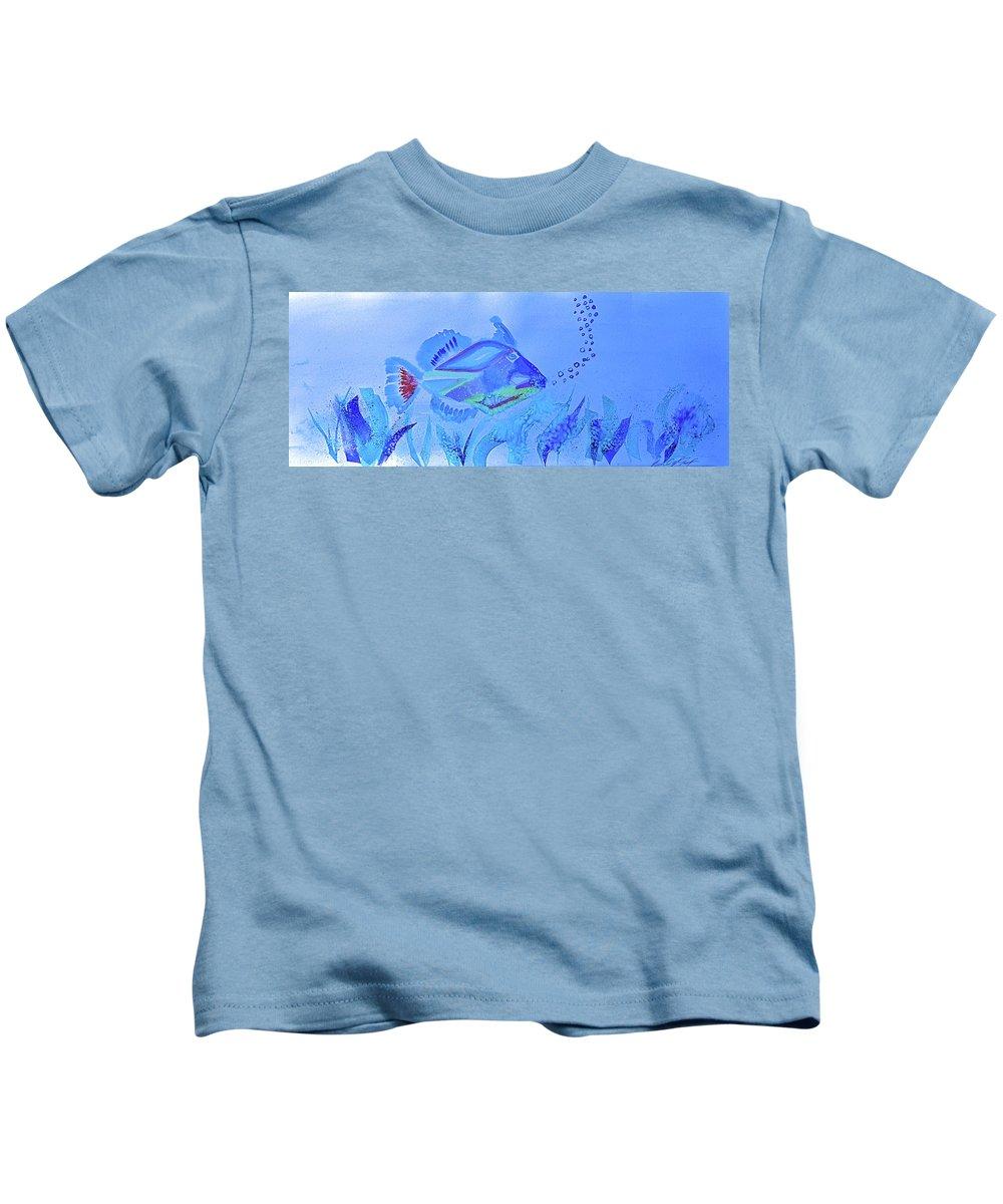 Tropical Fish Kids T-Shirt featuring the painting Huma Huma by Kimberly Maxwell Grantier