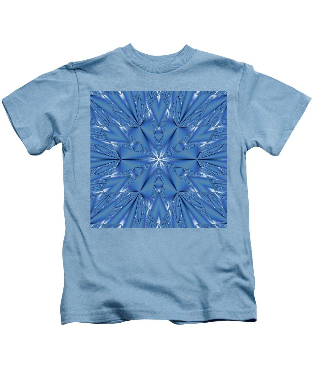 Fractal Kids T-Shirt featuring the digital art Ice Flower Fractal by Judi Suni Hall