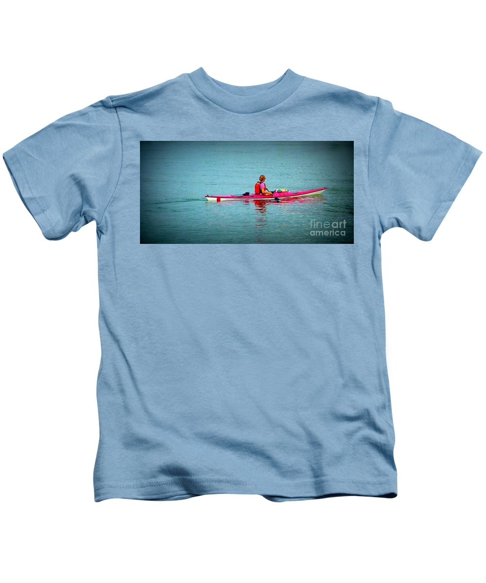 Pink Kids T-Shirt featuring the photograph In The Pink Kayaker by Susan Garren