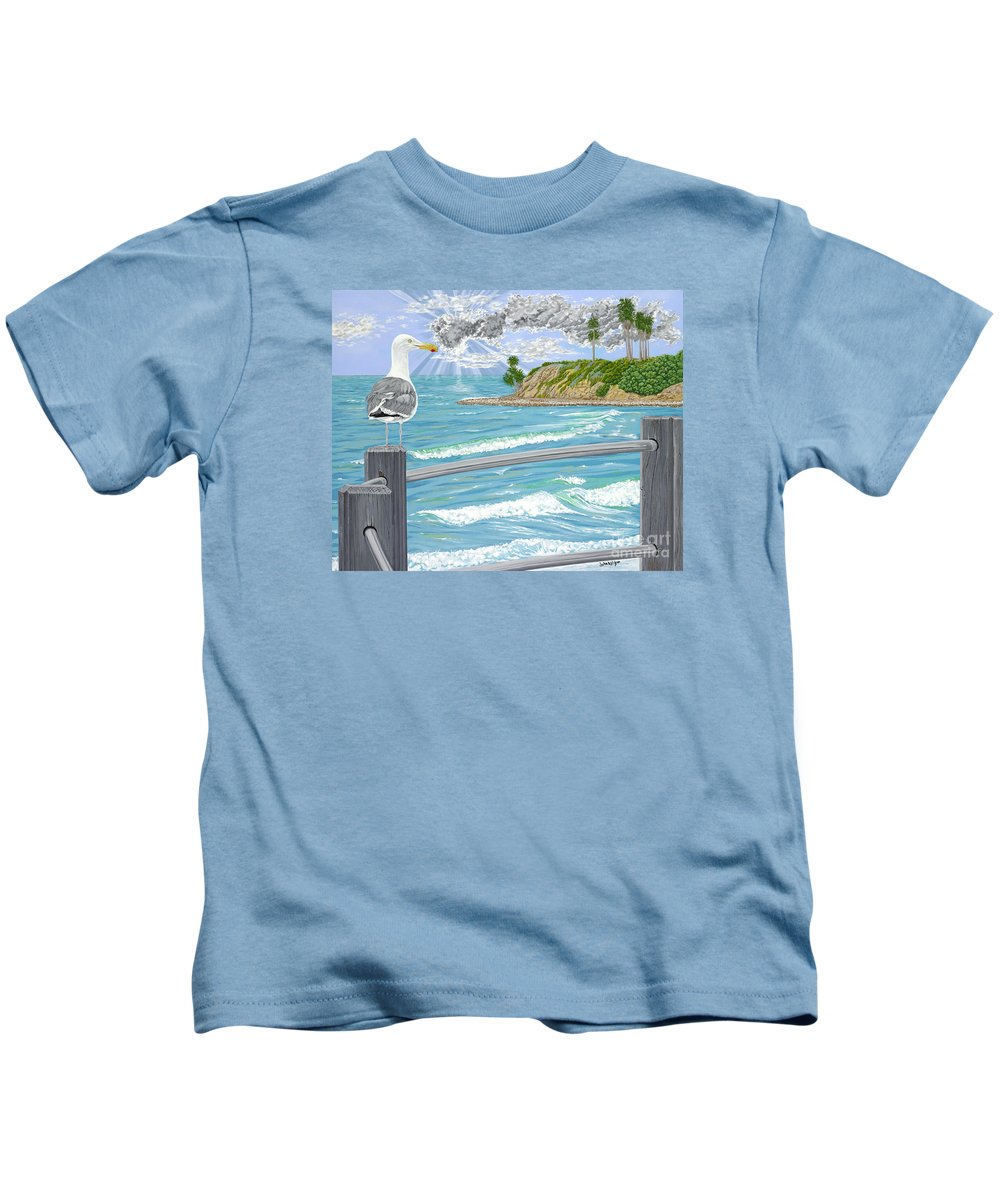 Sea Gull Kids T-Shirt featuring the painting Intensity by John Wilson