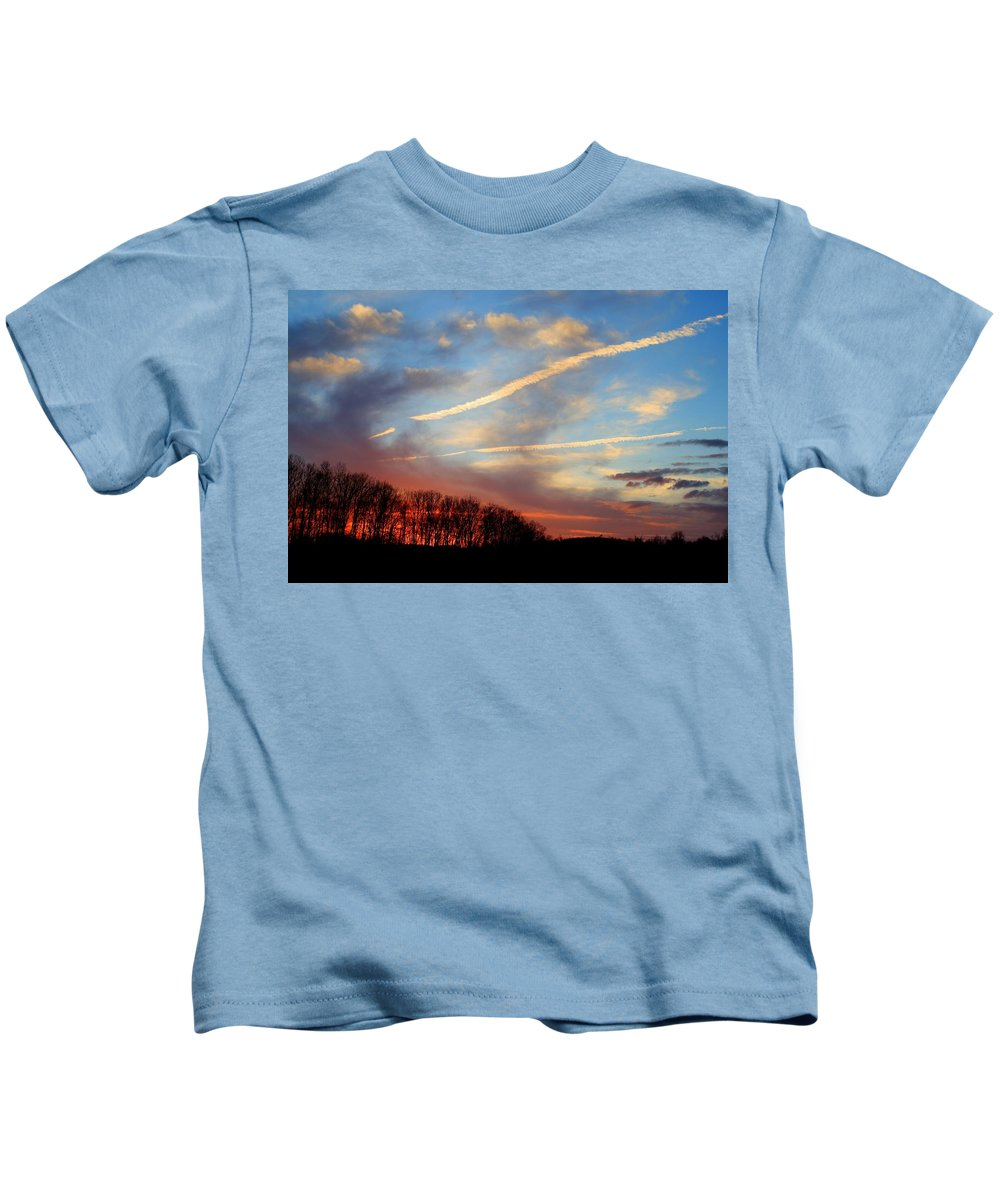 Sunset Kids T-Shirt featuring the photograph Interesting Sunset by Kathryn Meyer