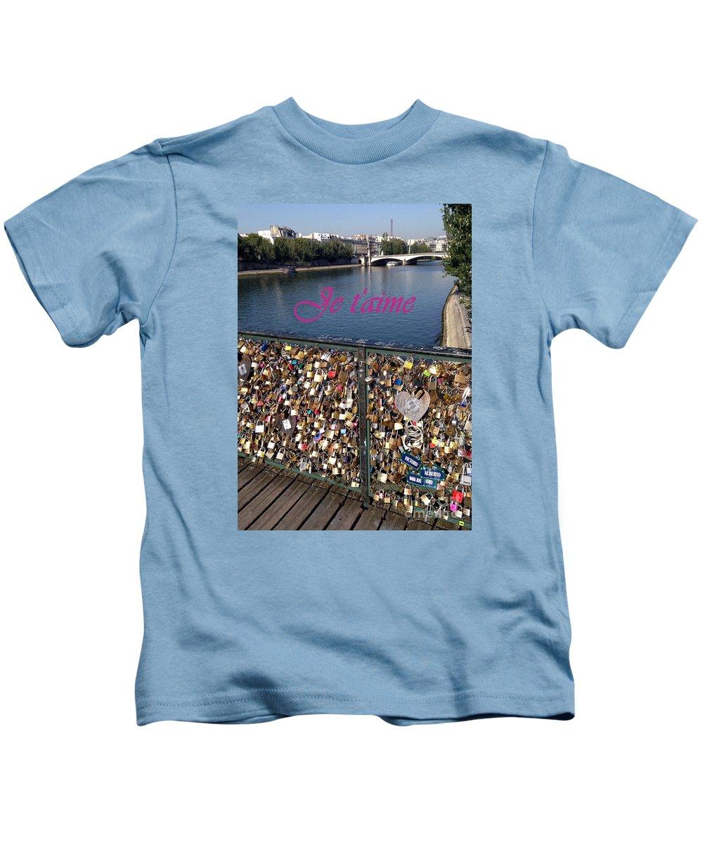Cadenas De Amor Kids T-Shirt featuring the photograph Je T'aime by Barbie Corbett-Newmin