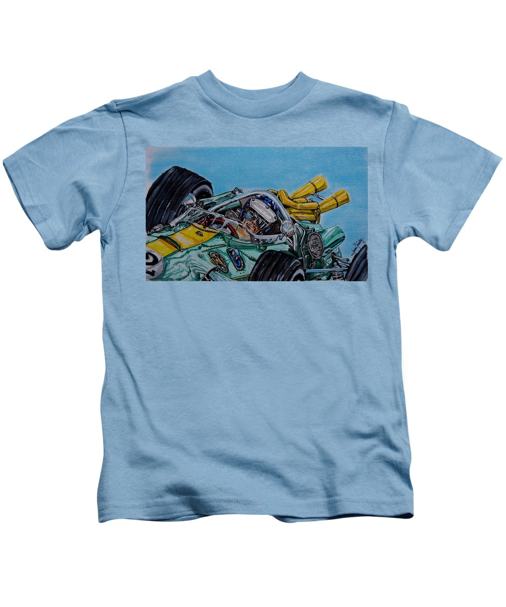 Jim Clark Kids T-Shirt featuring the painting Jim Clark Indy 500 by Juan Mendez