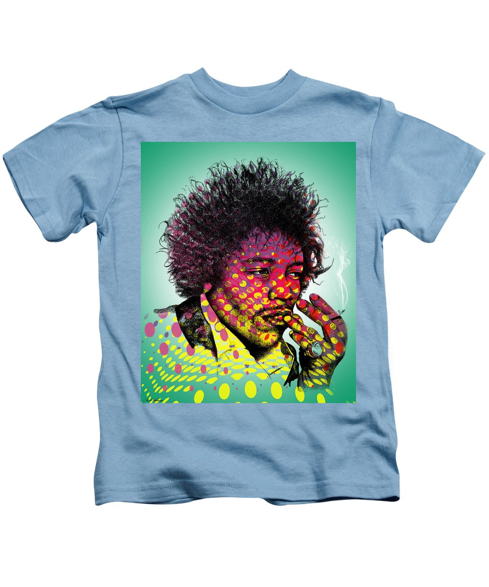 Jimmie Hendrix Kids T-Shirt featuring the digital art Jimmie Hendrix by Mark Ashkenazi