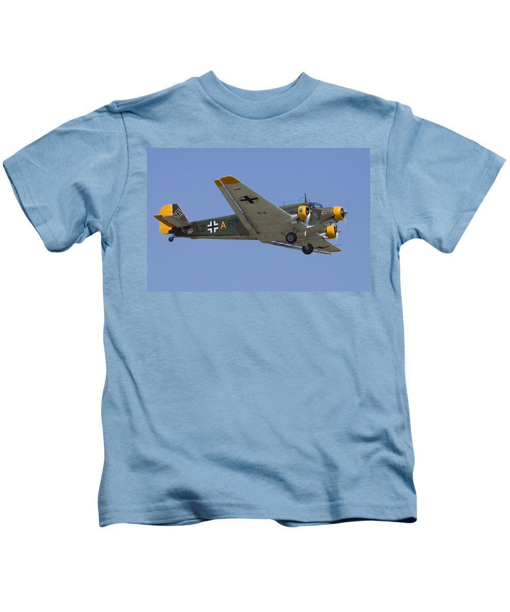 3scape Kids T-Shirt featuring the photograph Junkers Ju-52 by Adam Romanowicz