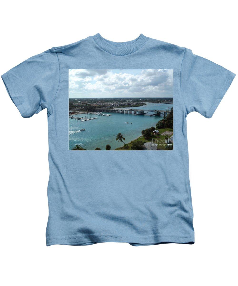 Draw Bridge Kids T-Shirt featuring the photograph Jupiter Beach Inlet Draw Bridge by Jennifer Lavigne