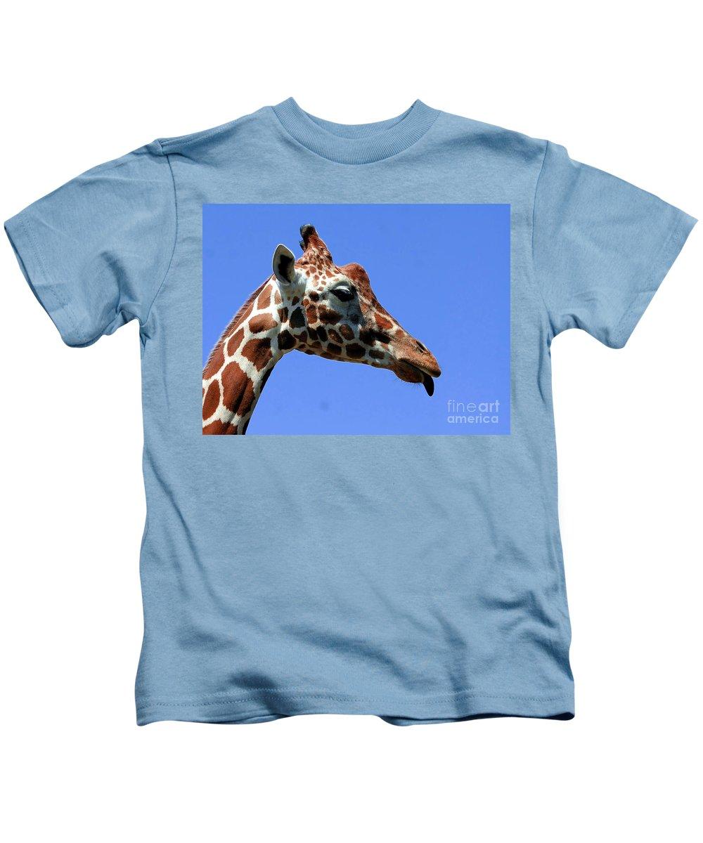 Giraffe Kids T-Shirt featuring the photograph Kiss Me Baby by Kathleen Struckle