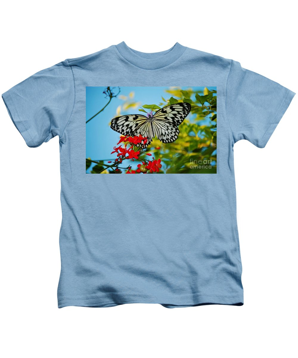 Nature Photography Kids T-Shirt featuring the photograph Kite Butterfly by Peggy Franz