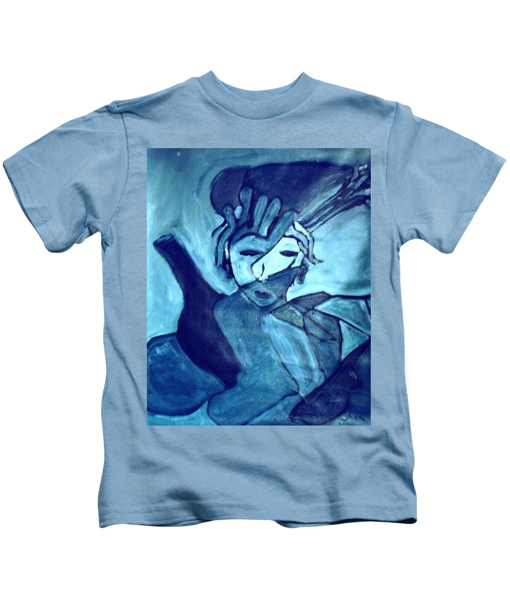 Blue Kids T-Shirt featuring the painting Lady Madonna by Shea Holliman