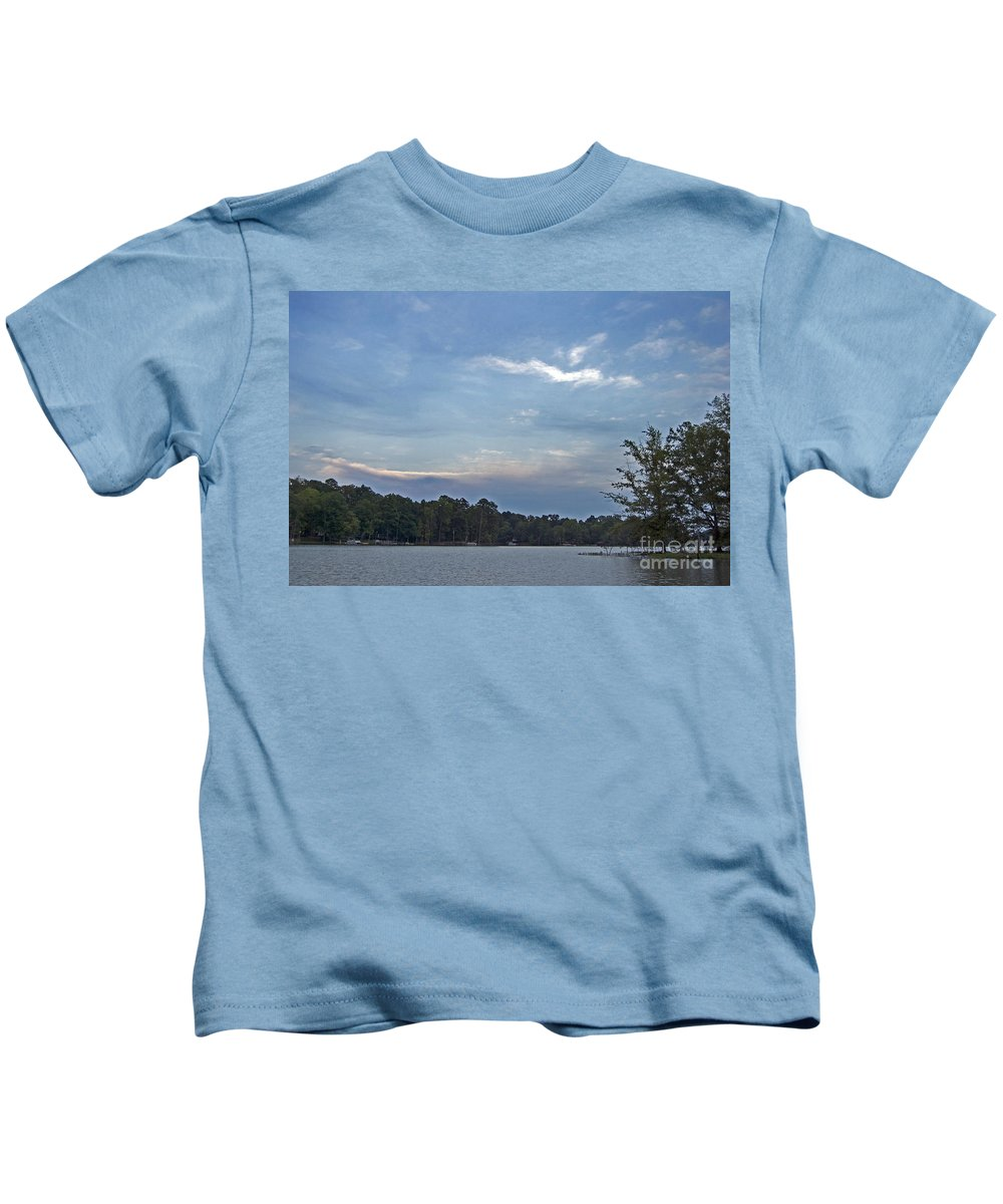 Scenic Tours Kids T-Shirt featuring the photograph Lake Tranquility by Skip Willits