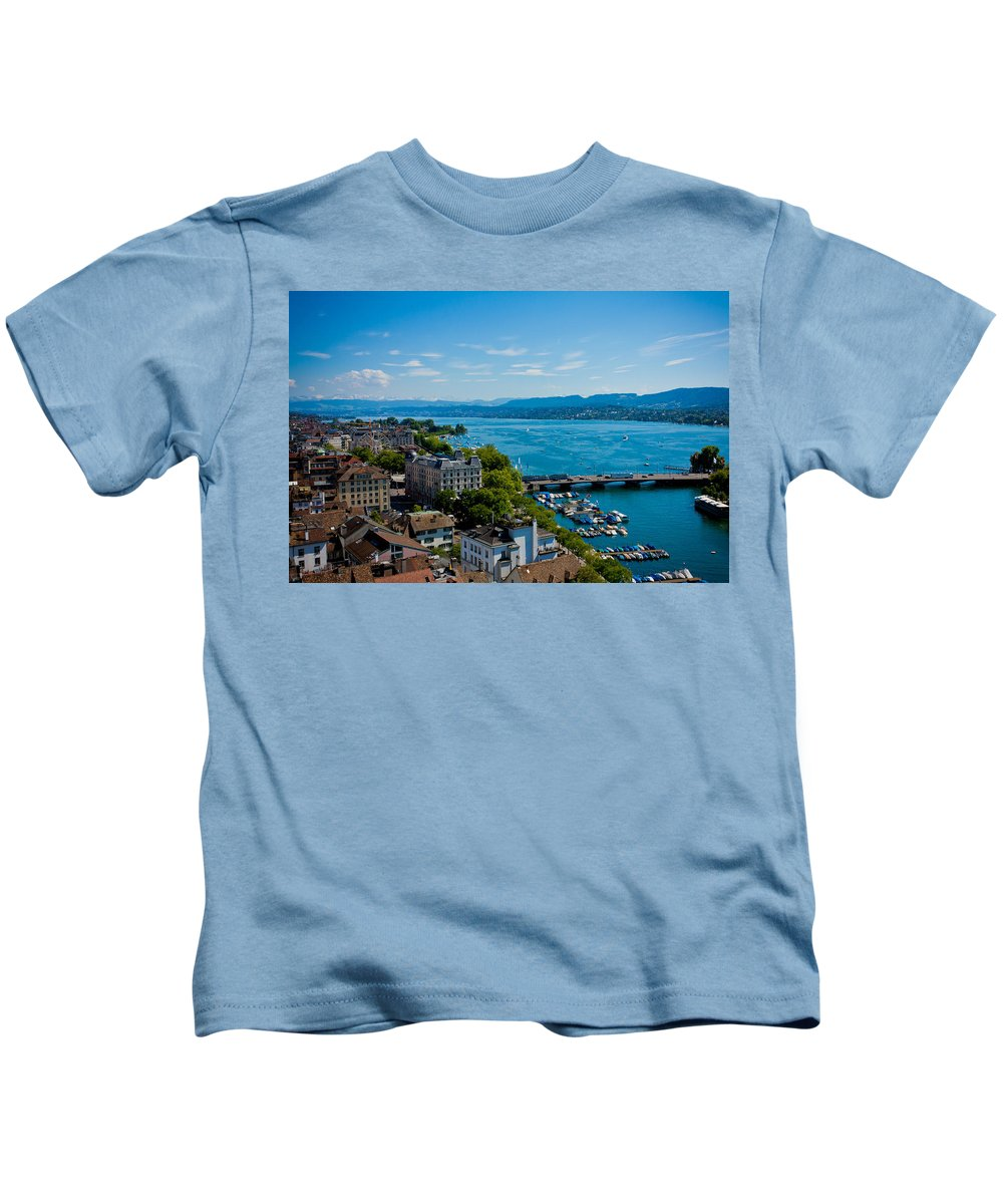 Switzerland Kids T-Shirt featuring the photograph Lake Zurich by Anthony Doudt