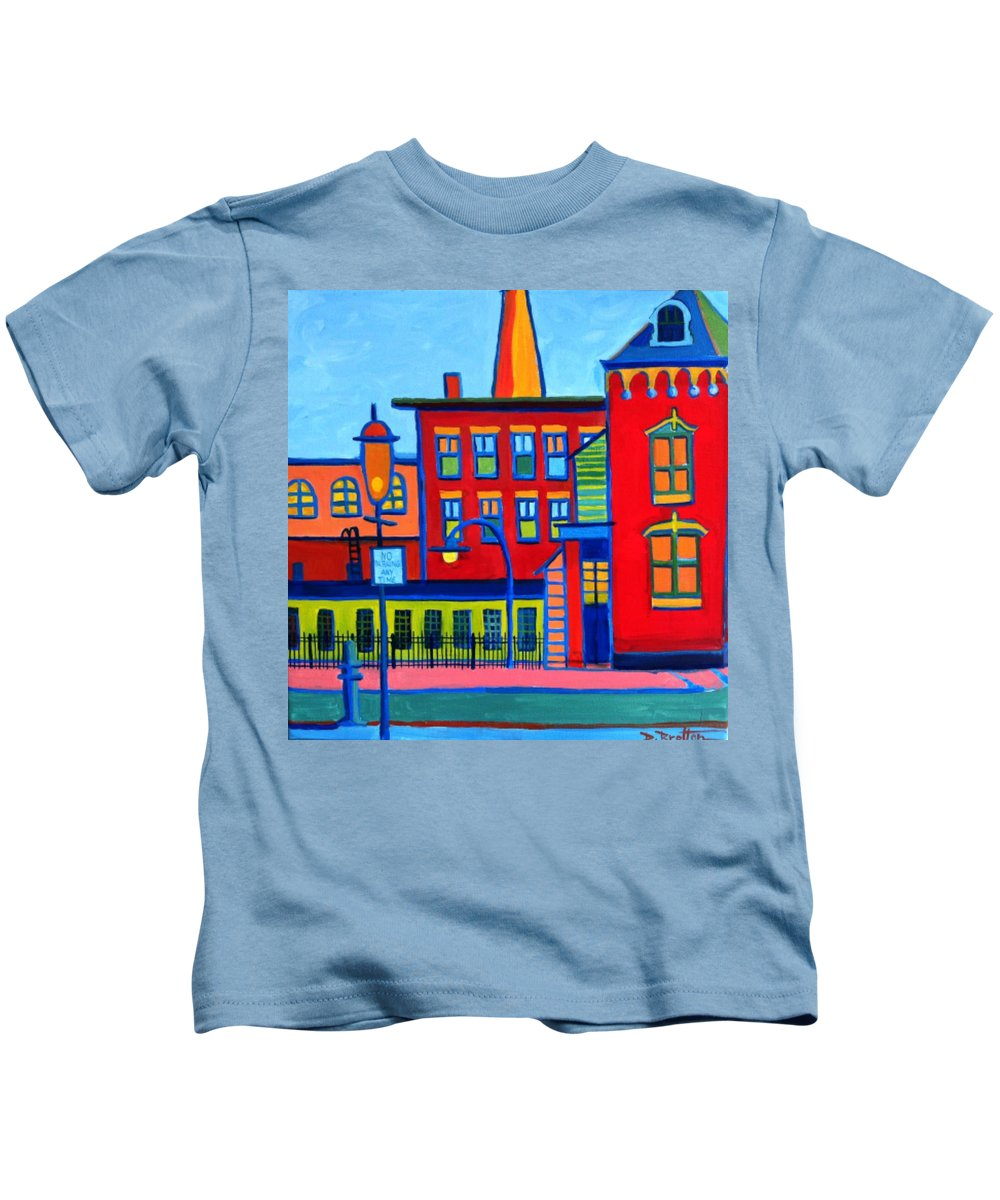 Landscape Kids T-Shirt featuring the painting Life Revolving in the City Lowell MA by Debra Bretton Robinson