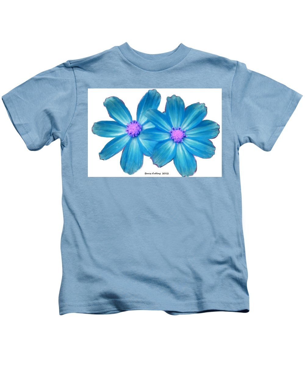 Light Kids T-Shirt featuring the painting Light Blue Asters by Bruce Nutting
