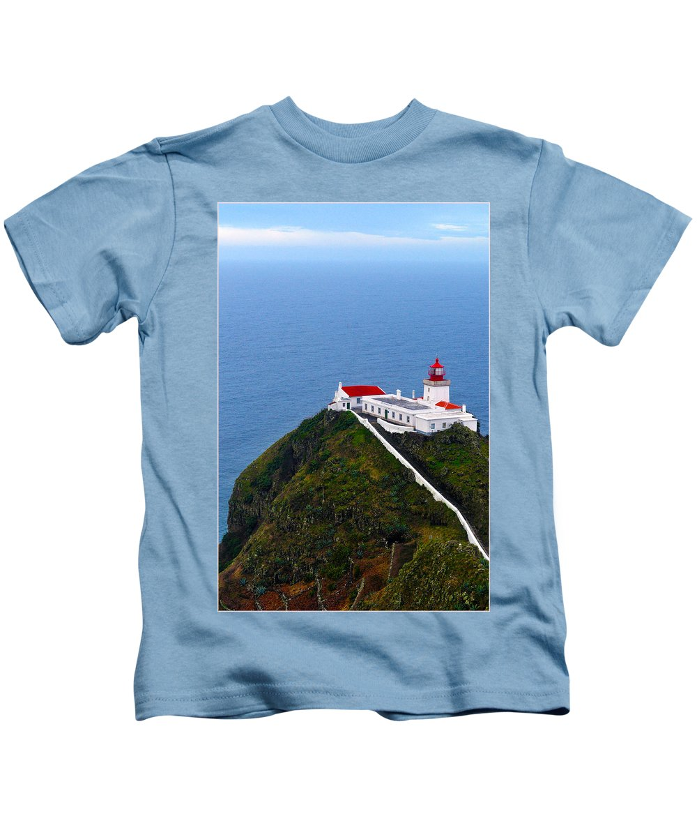 Lighthouse Kids T-Shirt featuring the photograph Lighthouse In The Sky by M Bernardo