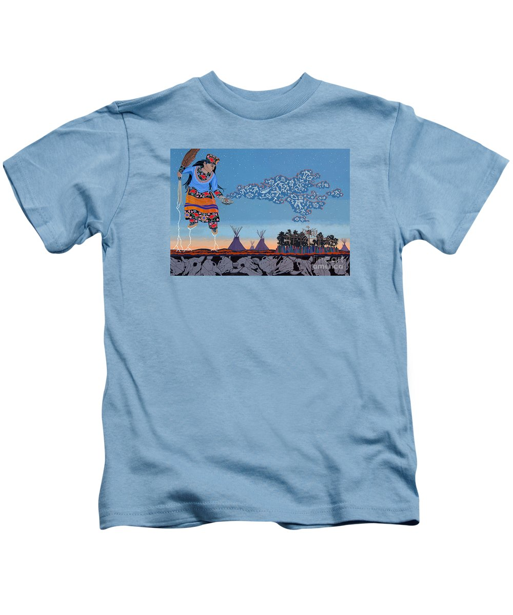 America Kids T-Shirt featuring the painting Lightning Walker by Chholing Taha