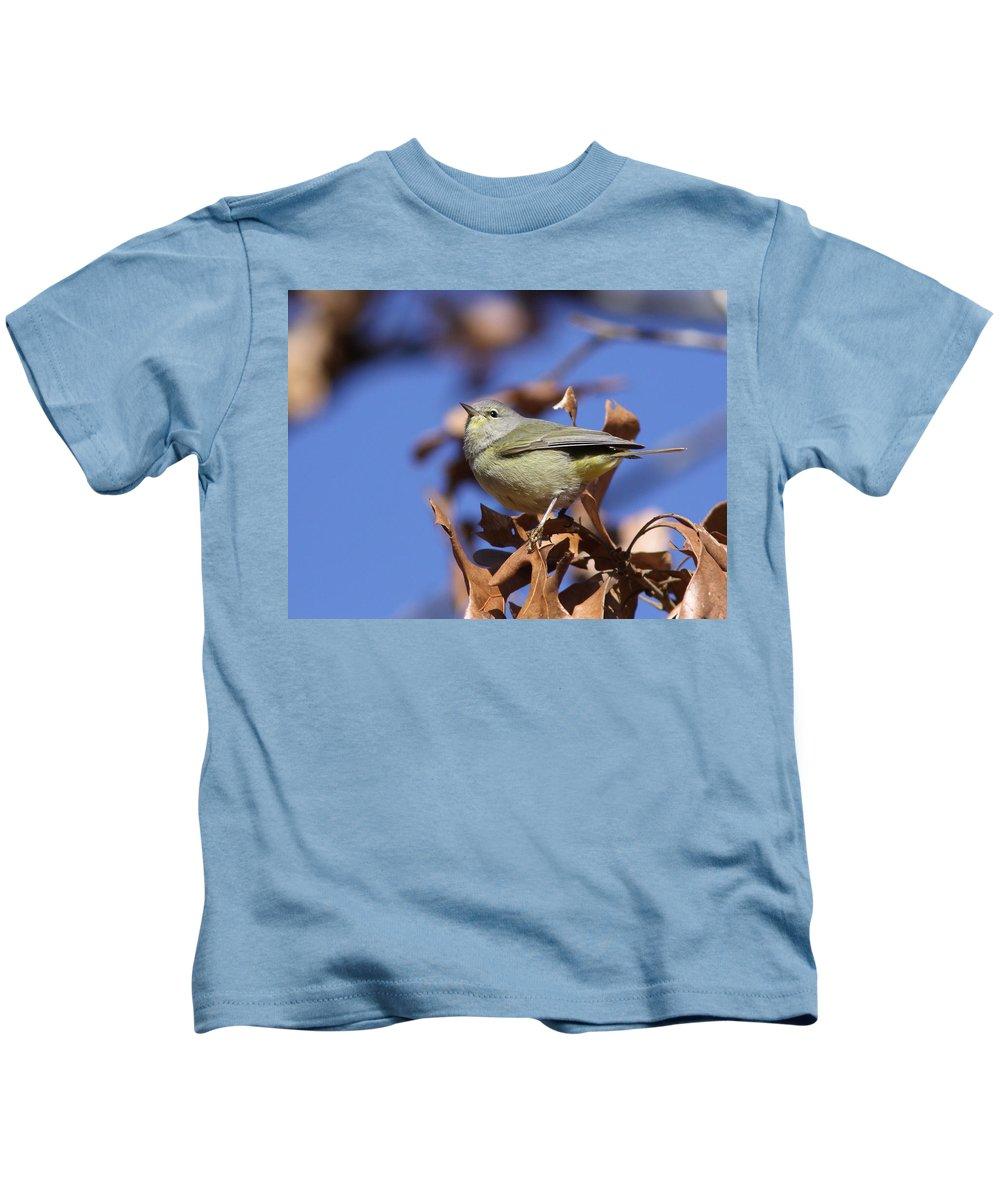 Orange-crowned Warbler Kids T-Shirt featuring the photograph Lil' Bit - Orange-crowned Warbler by Travis Truelove