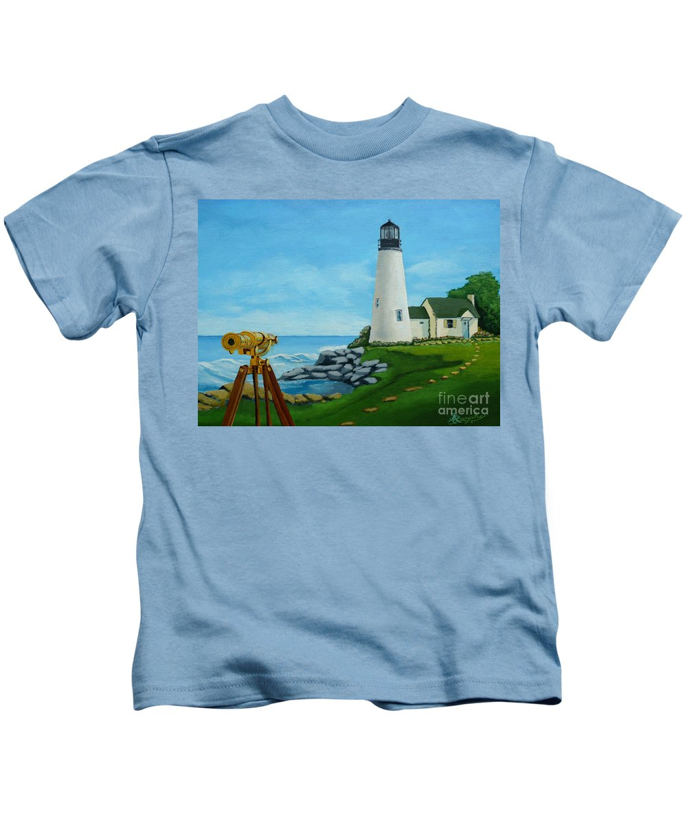 Lighthouse Kids T-Shirt featuring the painting Looking Out To Sea by Anthony Dunphy