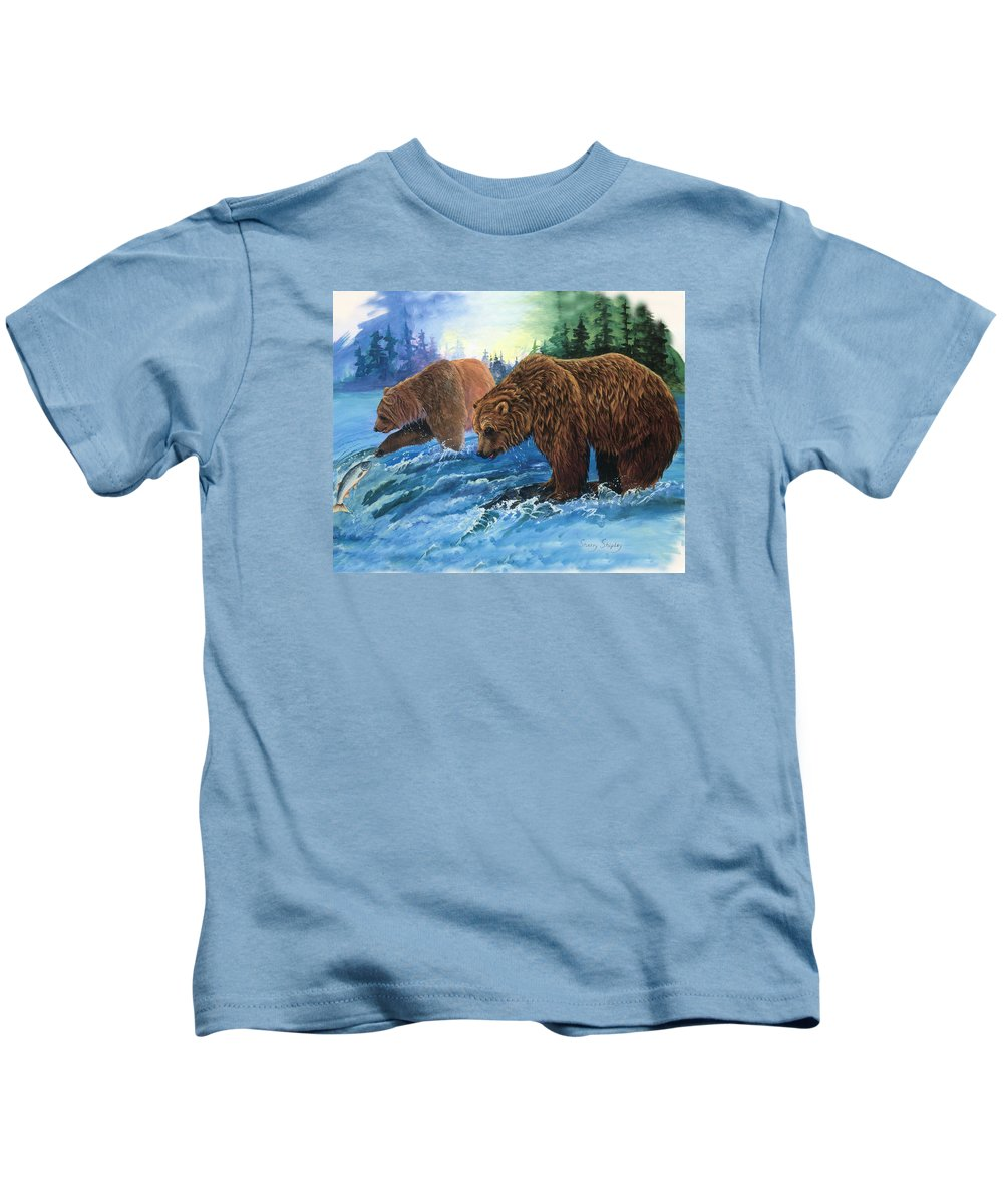 Grizzly Bear Kids T-Shirt featuring the painting Lunch Break by Sherry Shipley