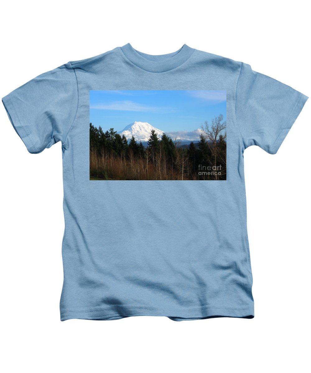 Mountain Kids T-Shirt featuring the photograph Majestic Mount Rainier by Jacklyn Duryea Fraizer
