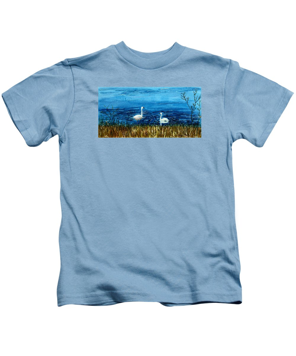 Swans Kids T-Shirt featuring the painting Marion Lake Swans by Mary Benke