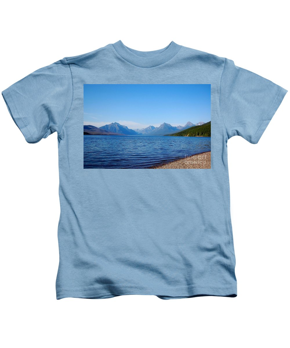 Glacier National Park Kids T-Shirt featuring the photograph Mcdonald Lake by Tara Ellis