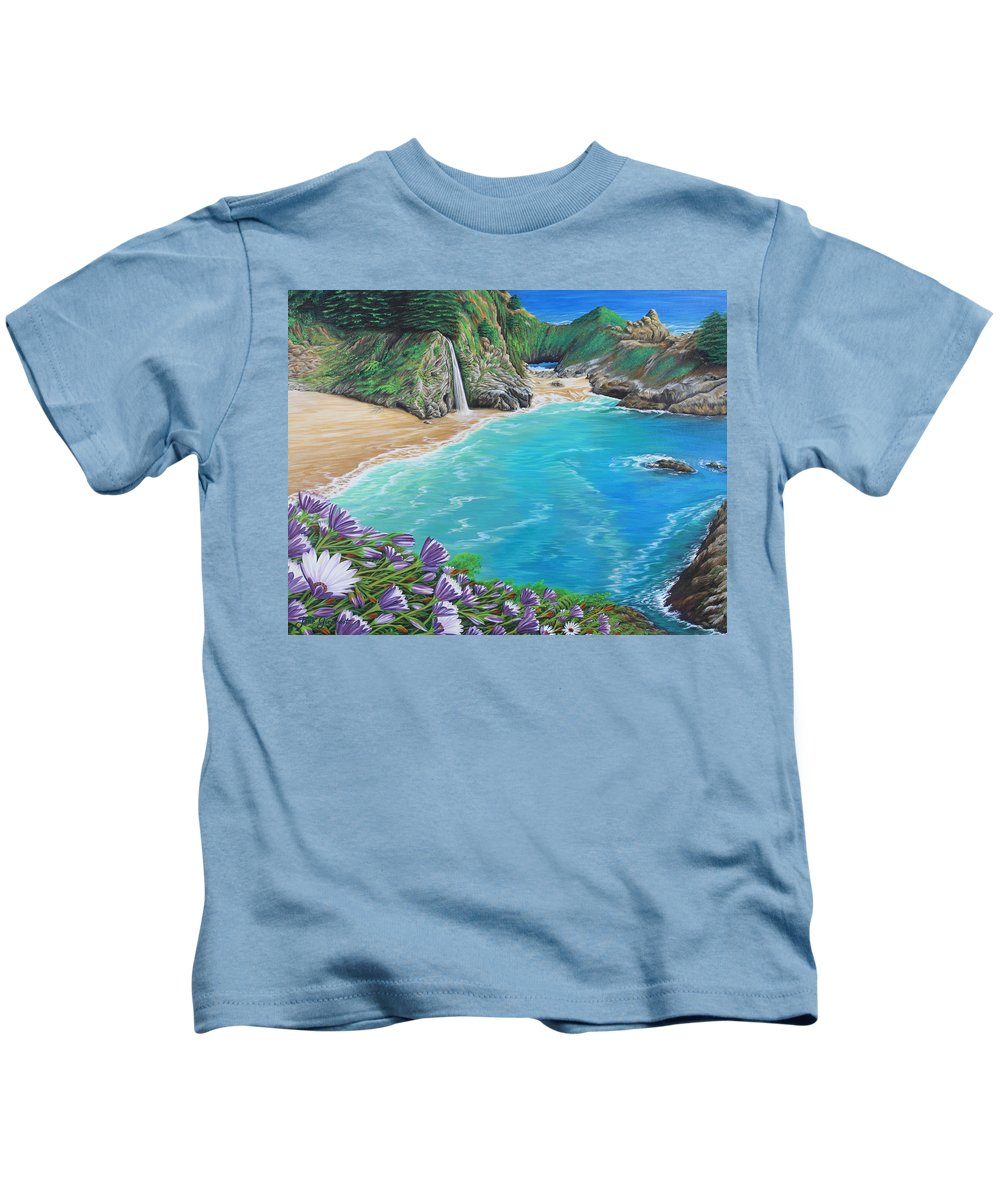 Beach Kids T-Shirt featuring the painting Mcway Falls by Jane Girardot