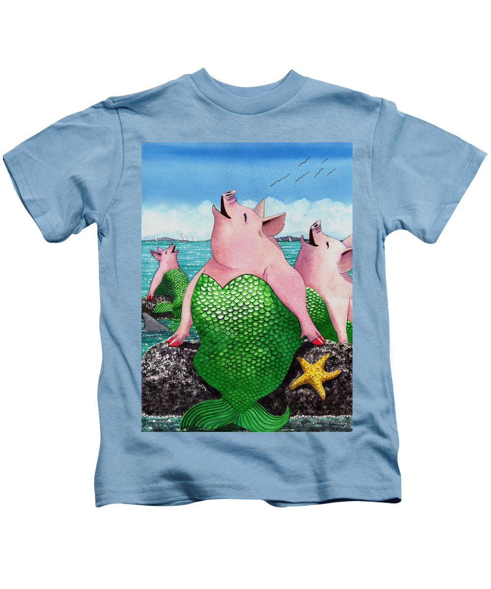Mermaid Kids T-Shirt featuring the painting Merpigs by Catherine G McElroy