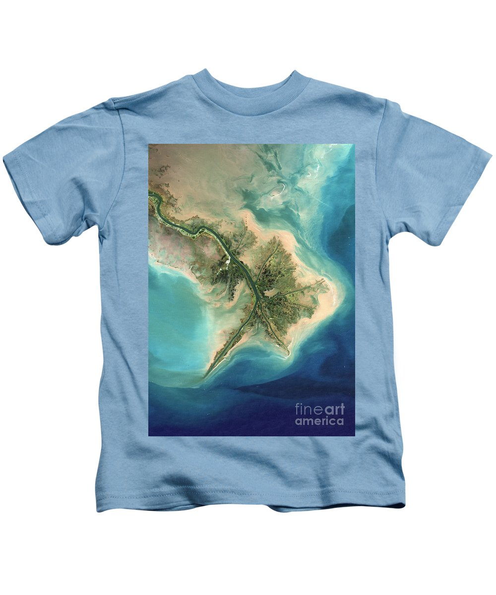 Satellite Image Kids T-Shirt featuring the photograph Mississippi River Delta, 2001 by Planet Observer