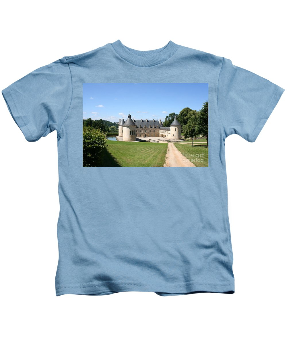 Palace Kids T-Shirt featuring the photograph Moated Palace - Bussy-rabutin by Christiane Schulze Art And Photography