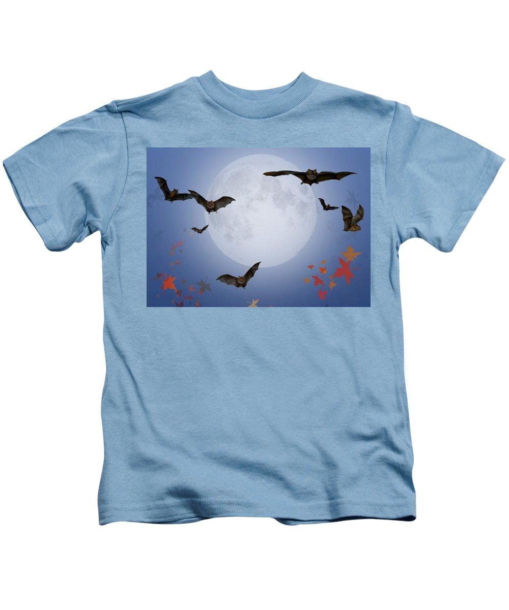 Halloween Kids T-Shirt featuring the digital art Moon And Bats by Melissa A Benson