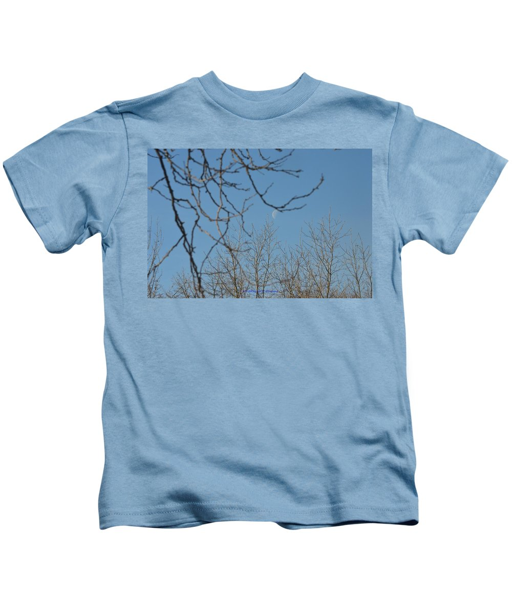Moon In Blue Kids T-Shirt featuring the photograph Moon On Treetop by Sonali Gangane
