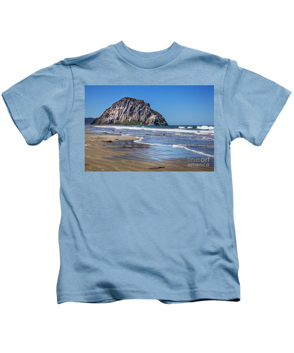 Morro Rock Kids T-Shirt featuring the photograph Morro Rock by David Millenheft