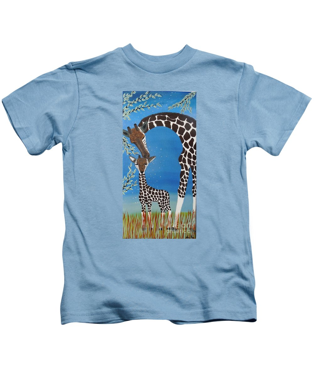 Giraffe Totem Kids T-Shirt featuring the painting Mother And Baby Giraffe by Jean Fry
