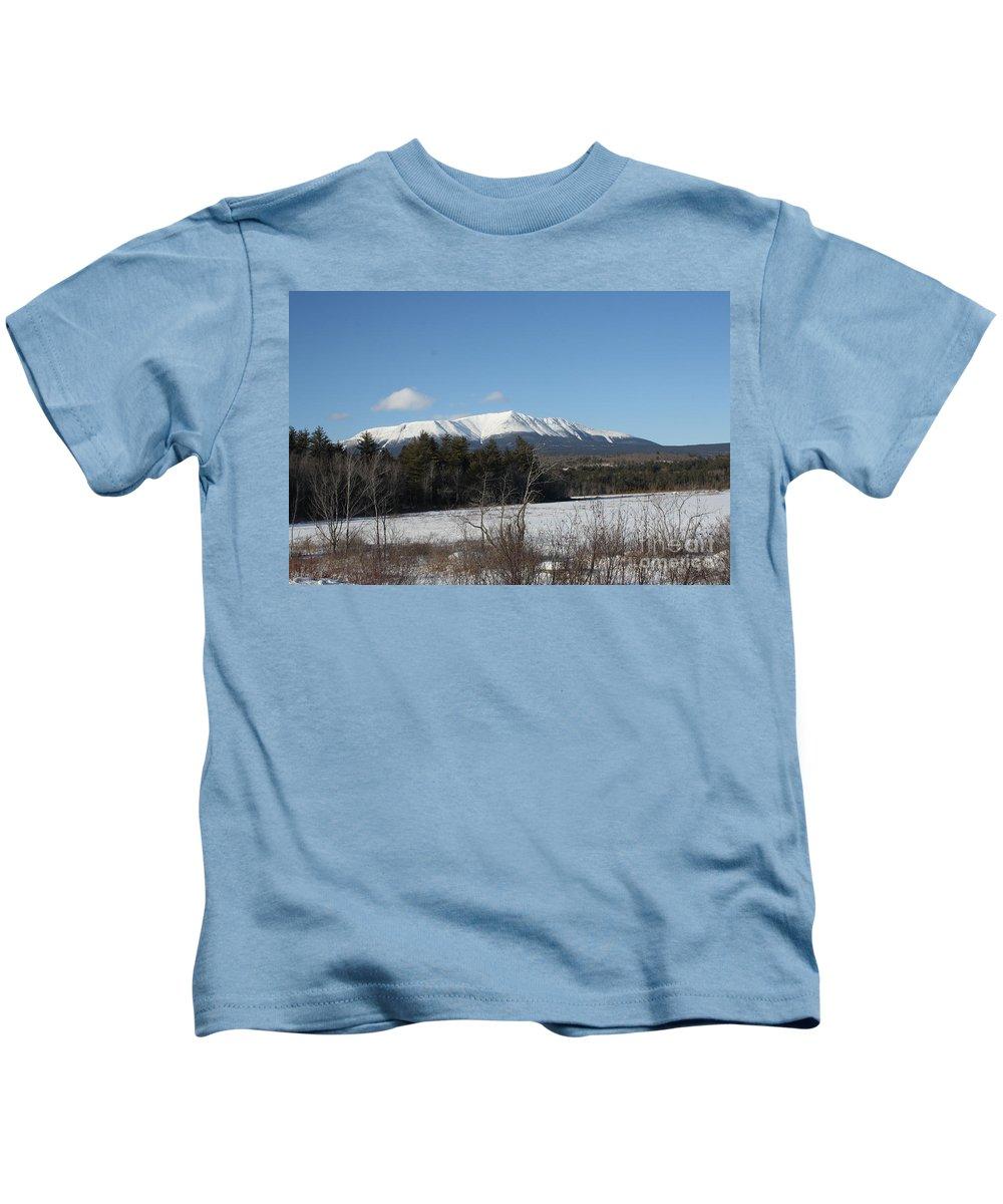 Mount Katahdin Kids T-Shirt featuring the photograph Mount Katahdin Winter 3 by Joseph Marquis