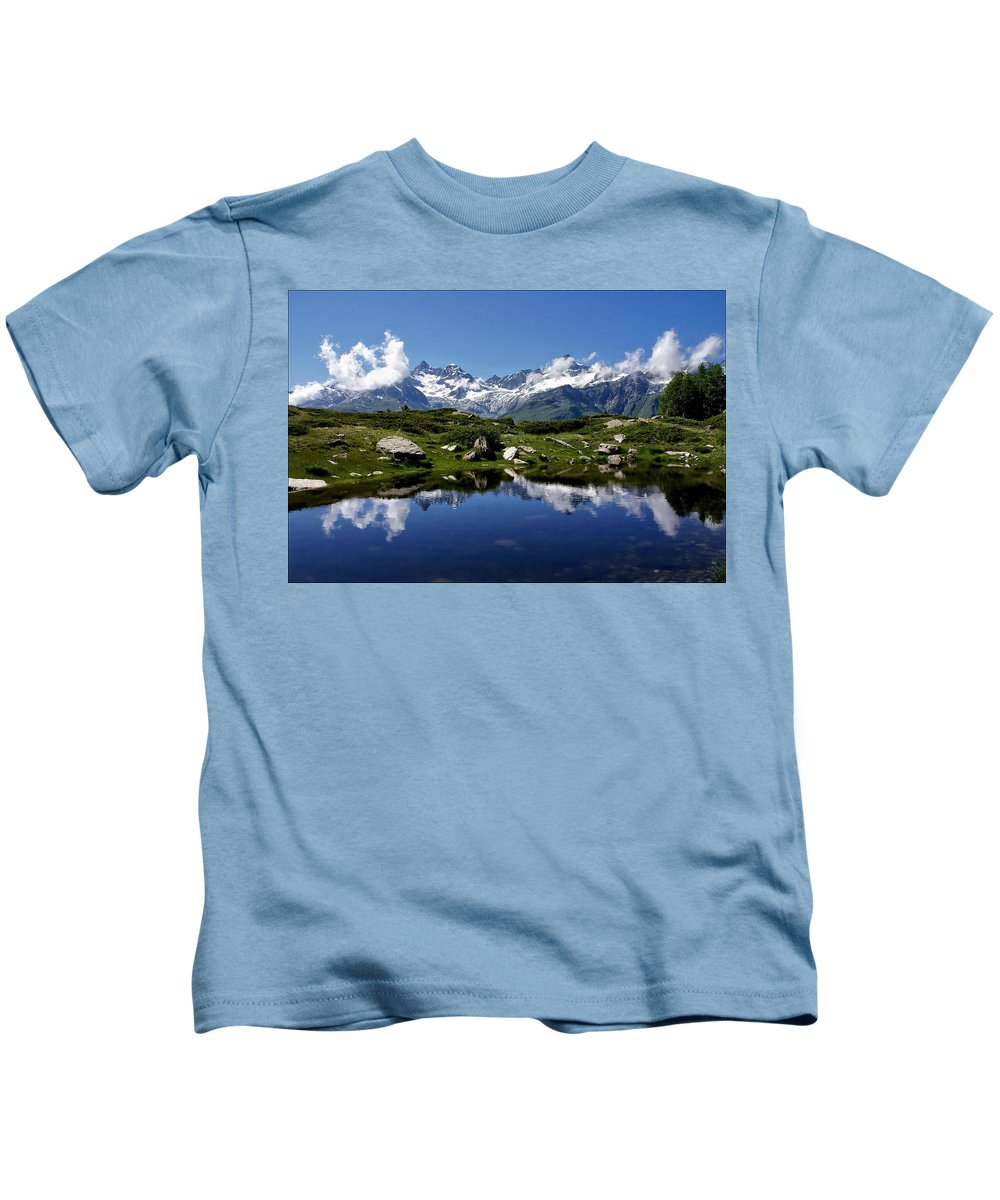 Mountains Kids T-Shirt featuring the photograph Mountain Lake by Annie Snel