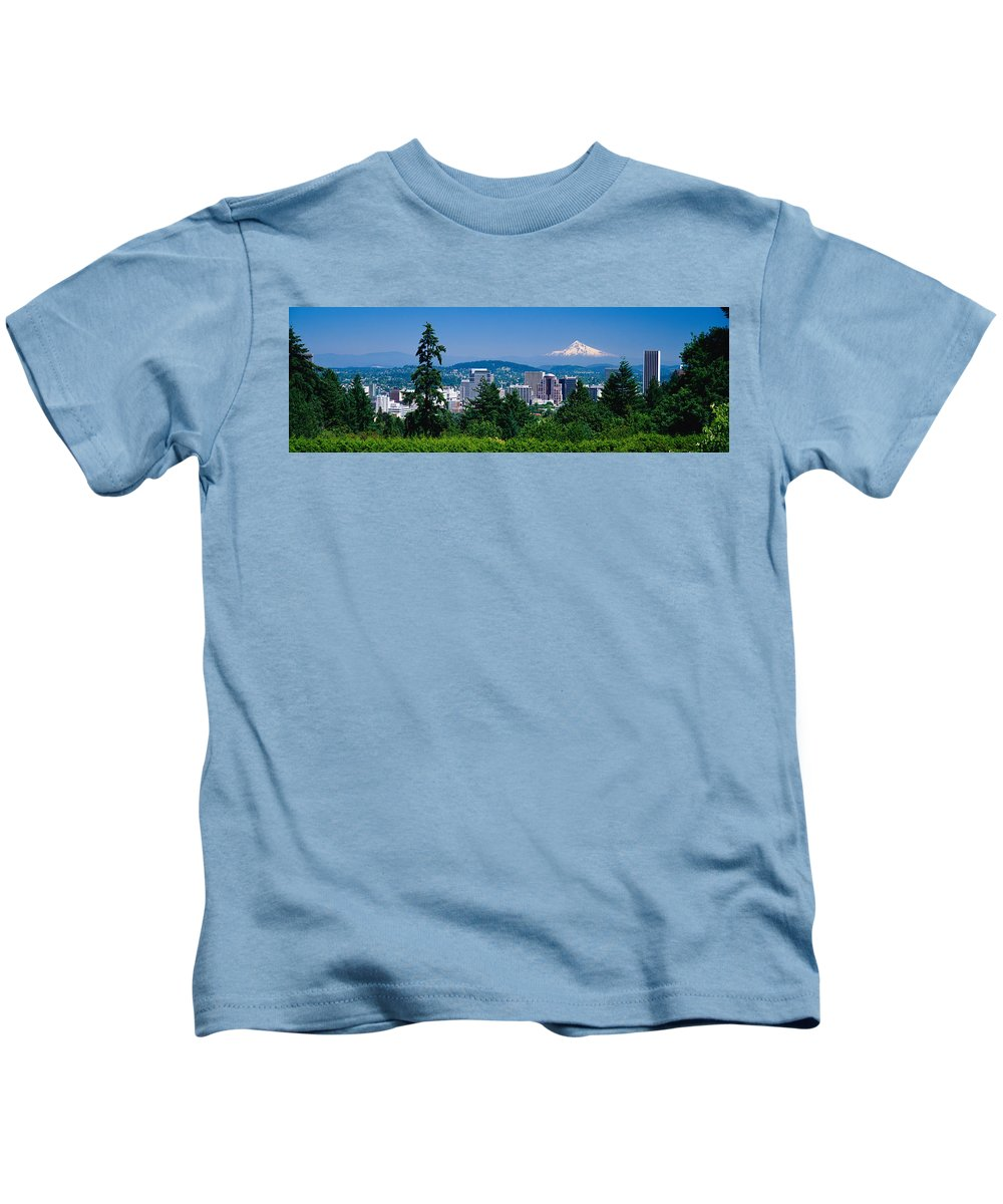 Photography Kids T-Shirt featuring the photograph Mt Hood Portland Oregon Usa by Panoramic Images