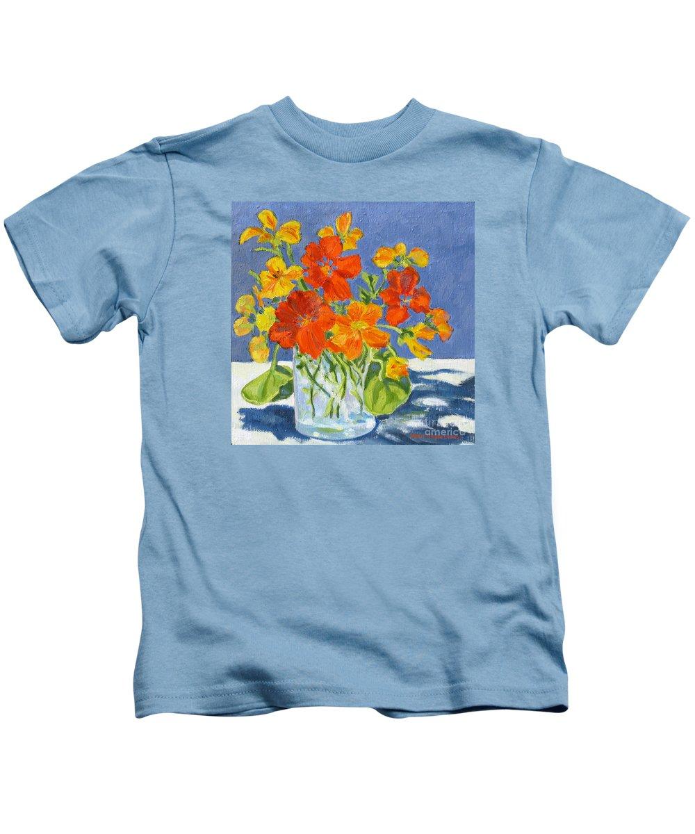 Flowers Kids T-Shirt featuring the painting Nasturtiums by Rhett Regina Owings
