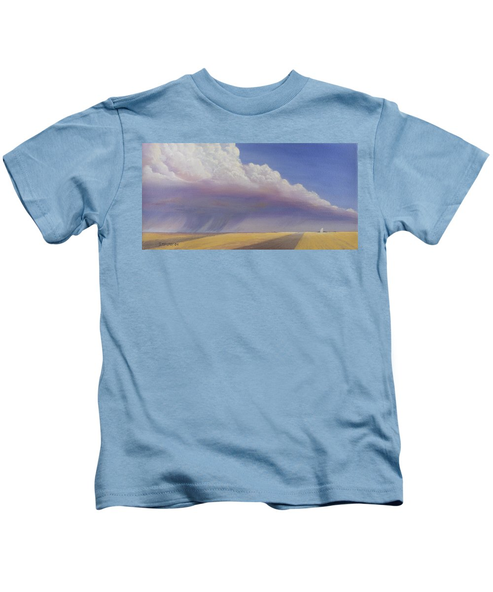 Landscape Kids T-Shirt featuring the painting Nebraska Vista by Jerry McElroy