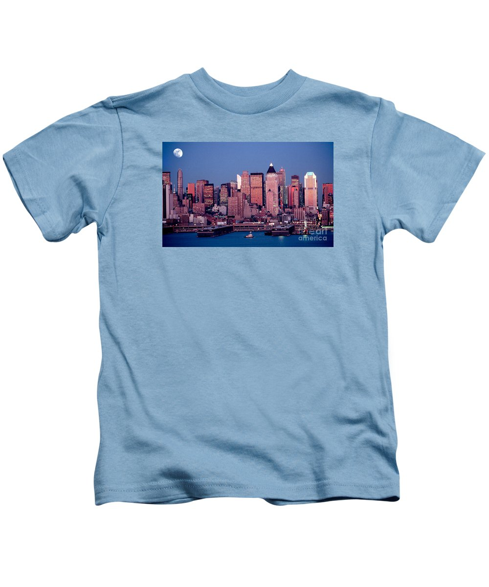 Nyc Kids T-Shirt featuring the photograph New York Skyline At Dusk by Anthony Sacco