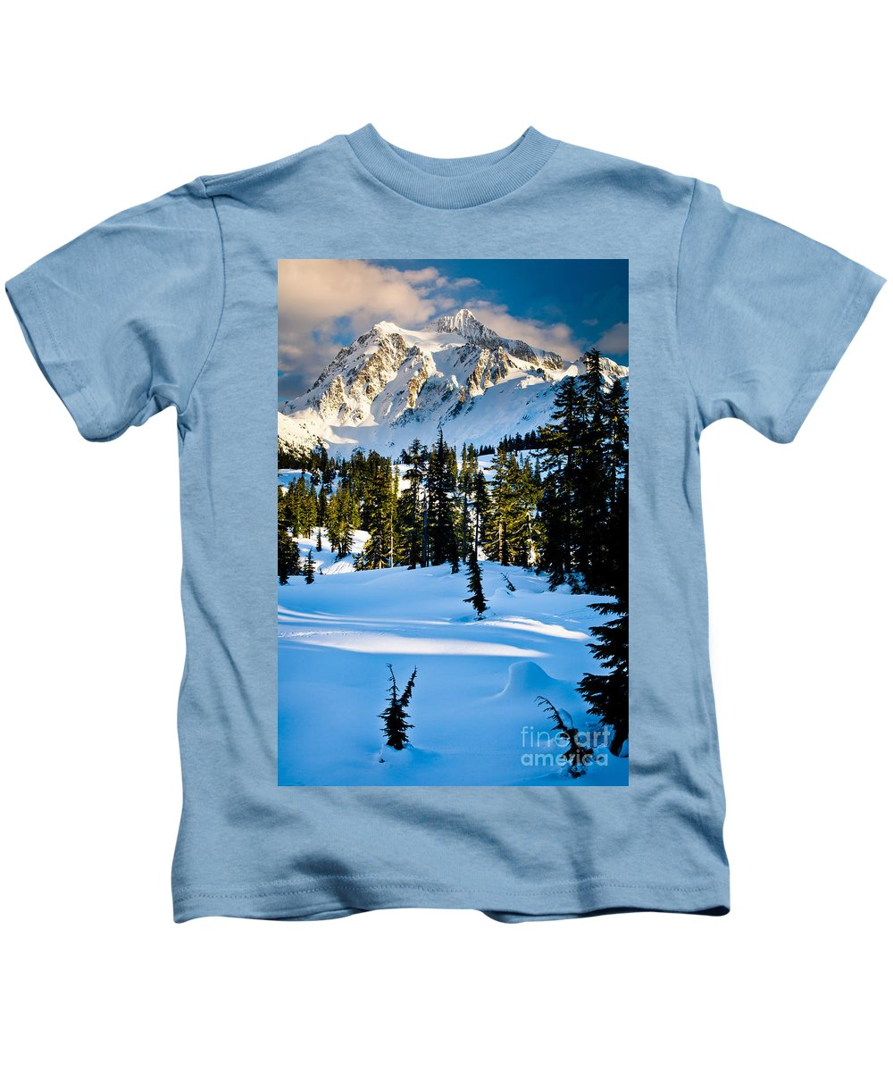 America Kids T-Shirt featuring the photograph North Cascades Winter by Inge Johnsson