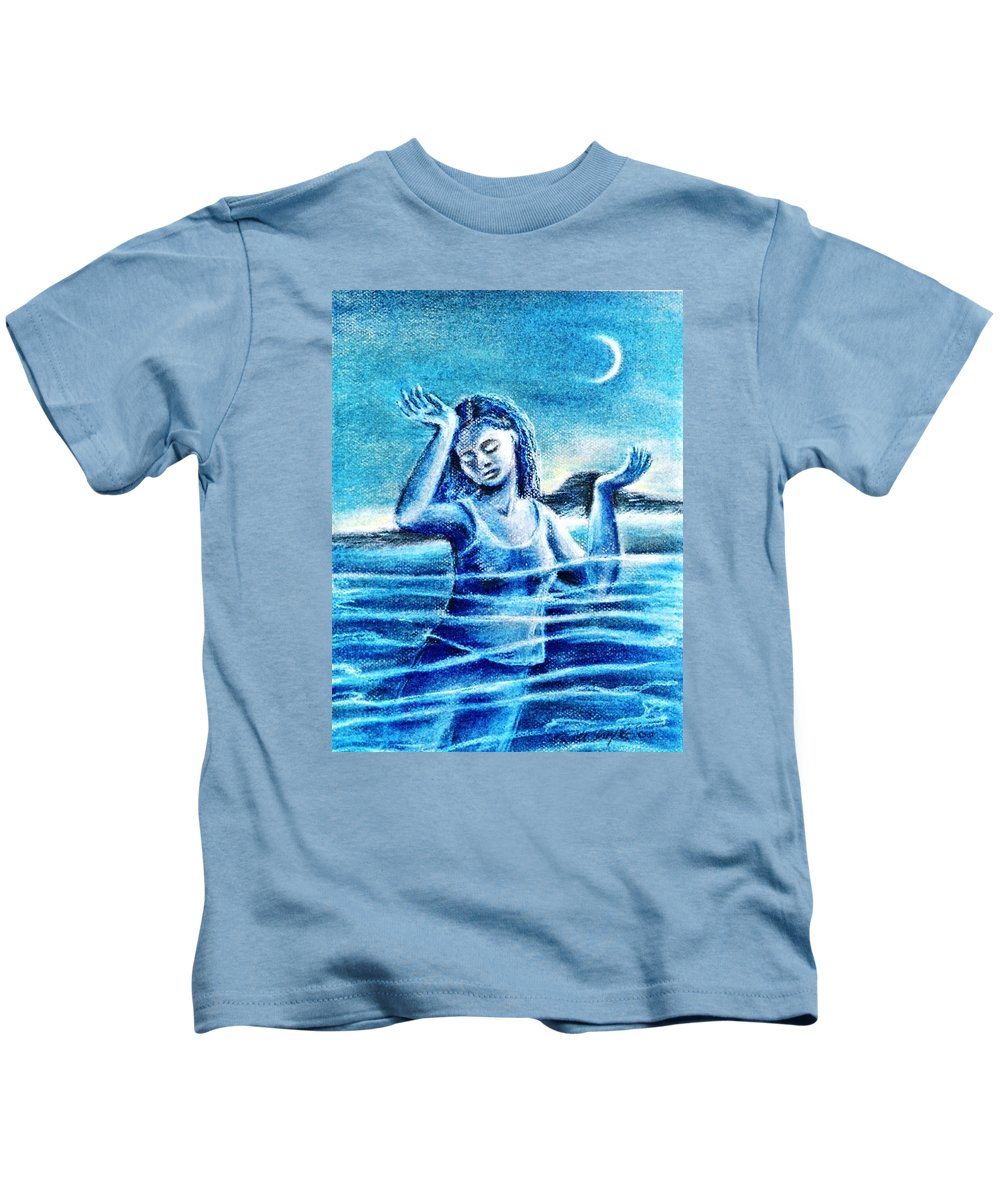 Waving Kids T-Shirt featuring the painting Not Waving But Drowning by Trudi Doyle