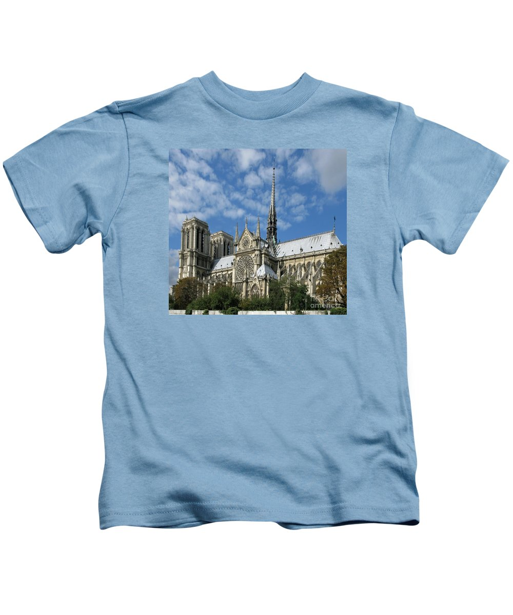 Notre Dame Kids T-Shirt featuring the photograph Notre Dame Cathedral by Ann Horn