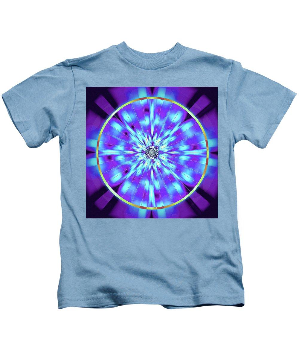 Sacredlife Mandalas Kids T-Shirt featuring the drawing Ocean Of Color by Derek Gedney
