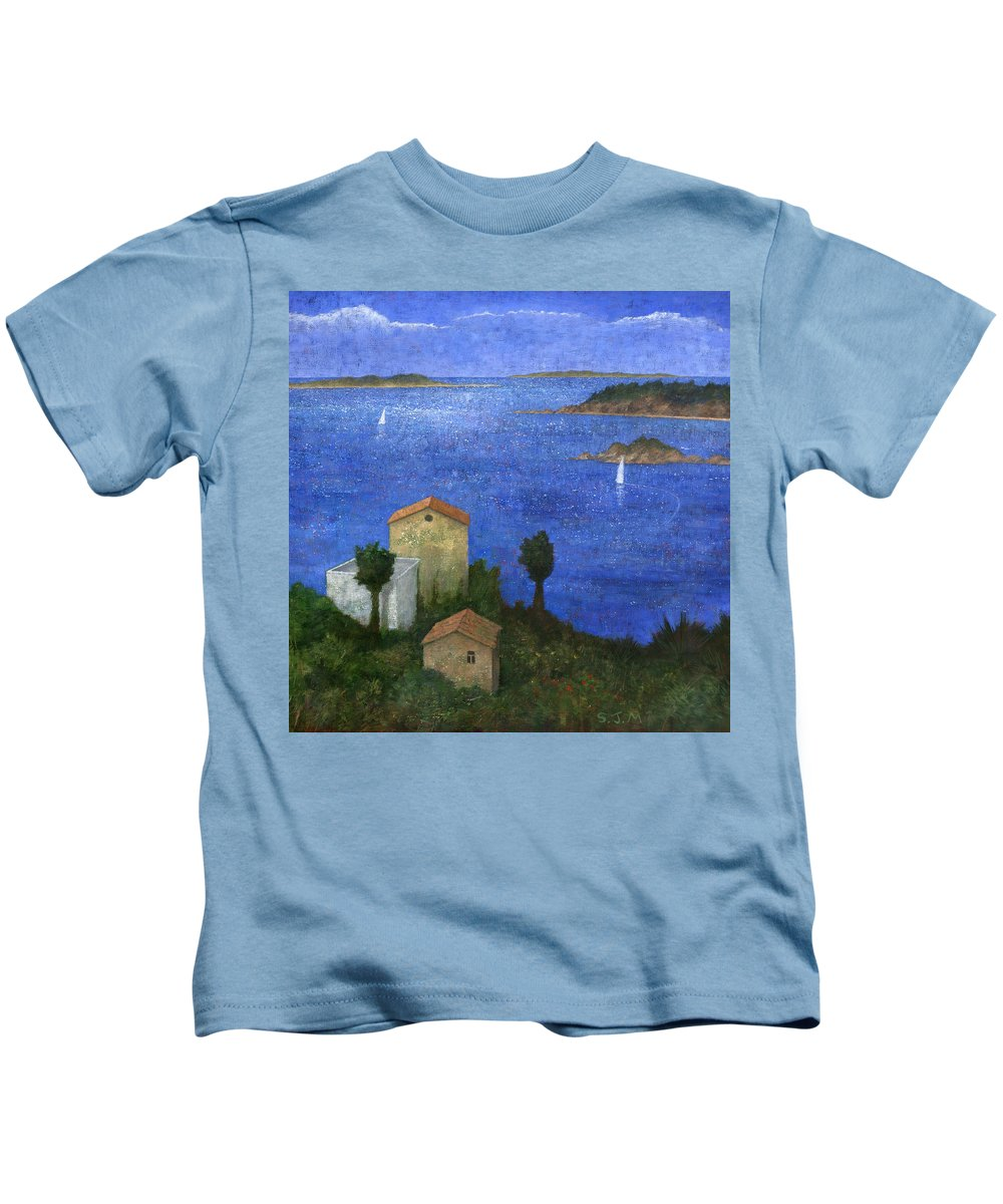 Seascape Kids T-Shirt featuring the painting Ocean View II by Steve Mitchell