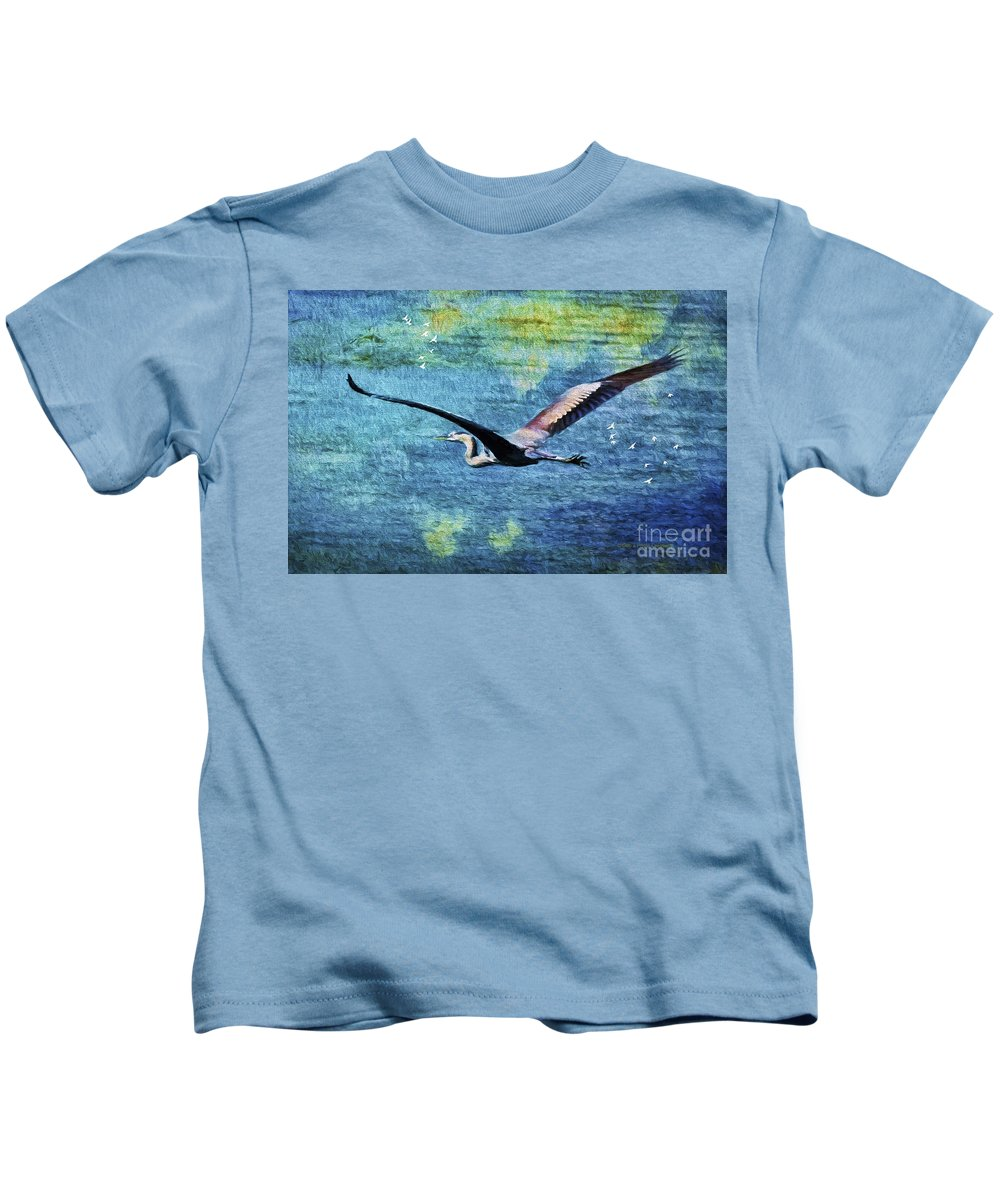 Blue Heron Kids T-Shirt featuring the painting On The Wings Of Blue by Deborah Benoit