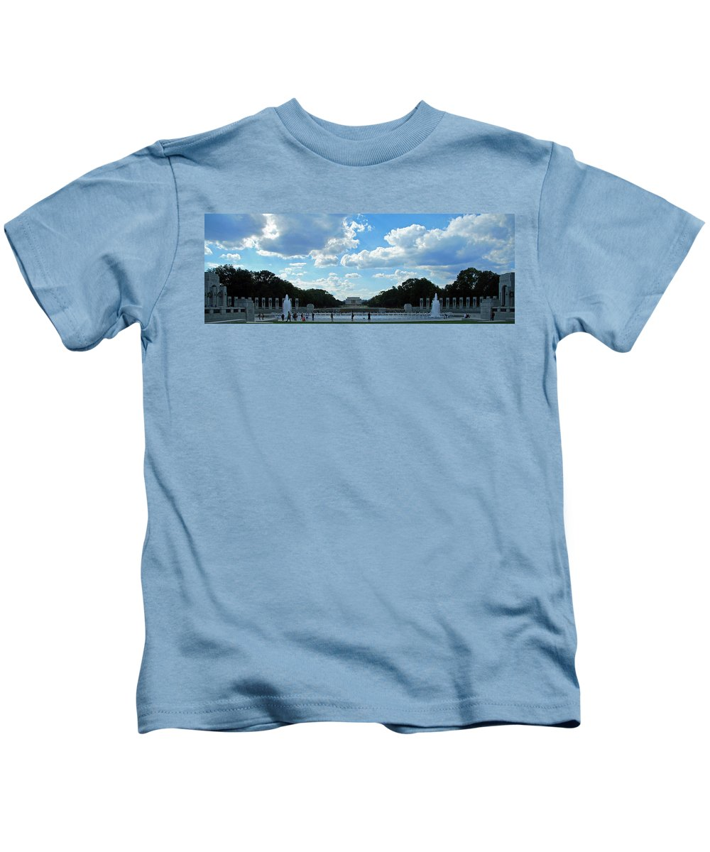 World Kids T-Shirt featuring the photograph One View Two Memorials by Cora Wandel