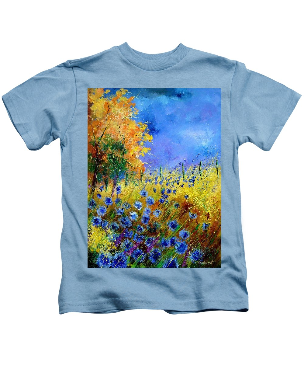 Poppies Kids T-Shirt featuring the painting Orange Tree And Blue Cornflowers by Pol Ledent