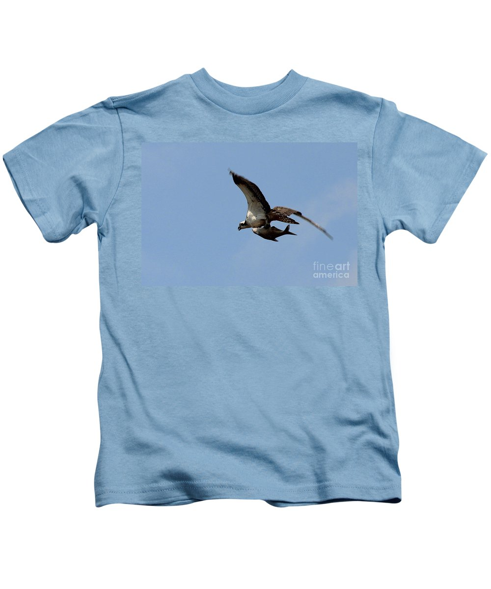 Osprey Kids T-Shirt featuring the photograph Osprey Grabs Lunch by Jemmy Archer