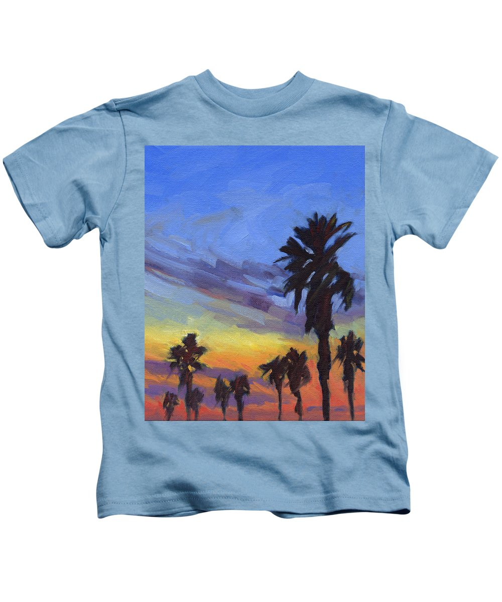Sunset Kids T-Shirt featuring the painting Pacific Sunset 2 by Konnie Kim