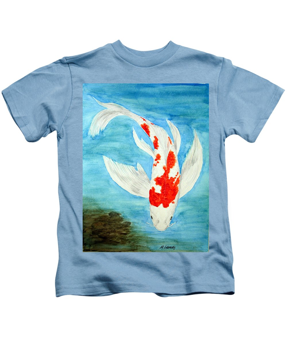 Koi Kids T-Shirt featuring the painting Paul's Koi by Marna Edwards Flavell